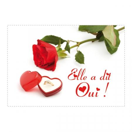 Etiquette rect coeur fleur rose