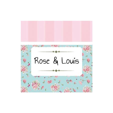 Étiquette Carrée bleu/rose liberty