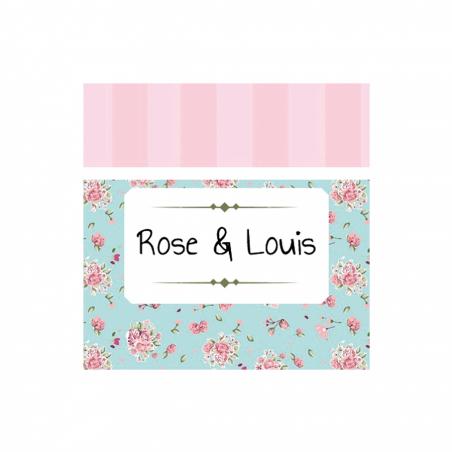 Étiquette bleue/rose liberty