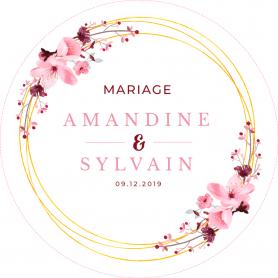 40 étiquettes couronne fleur mariage